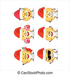 Santa Claus emoticons with savory pie cartoon character....
