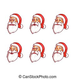 Santa Claus emotions pack. Happiness, resentment, surprise,...