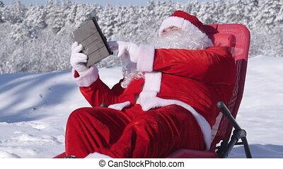 Santa Claus enjoying sunny day
