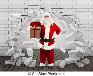 Santa Claus enters to deliver the gift by making a hole in the wall