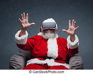 Santa Claus experiencing virtual reality, he is wearing VR...