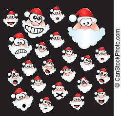 Santa Claus Expressions - Colorful Funny Santa Claus Head...