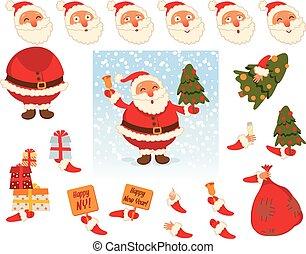 Santa Claus. Face and body elements - Santa Claus. Parts of...