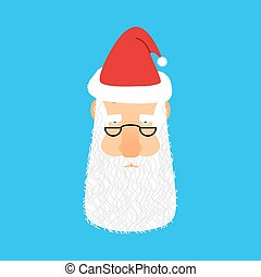 Santa Claus face avatar. Christmas grandfather head with beard and mustache isolated.