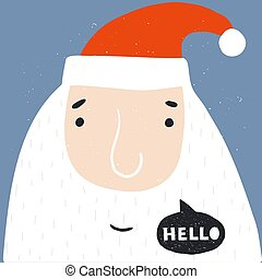 Santa Claus face isolated. Xmas design for greeting cards and invitations.