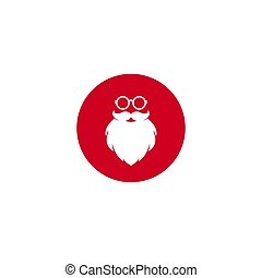 Santa claus face silhouette with beard and glasses in red circle. Label for party or greeting card.