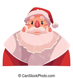 Santa Claus face, upset, confused facial expression,