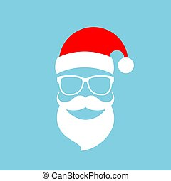 Santa Claus face with red Christmas cap