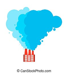 Santa Claus factory. Red factory and blue smoke. Christmas industry. Vector illustration