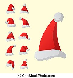 Santa claus fashion red hat modern elegance cap winter xmas holiday top clothes vector illustration.