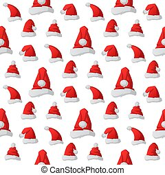 Santa claus fashion red hat seamless pattern background modern elegance cap winter xmas holiday top clothes vector illustration.