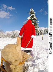 Santa Claus, Father Christmas in a beautiful winter ...