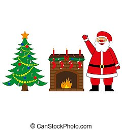 Santa Claus, fireplace and Christmas tree
