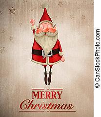 Santa Claus flies greeting card