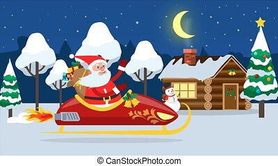 Santa Claus flying across winter forest