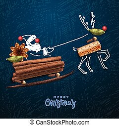 Santa Claus flying in a sleigh