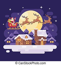 Santa Claus flying over the snowy night winter village landscape in a sleigh drawn by three reindeer. Christmas flat illustration