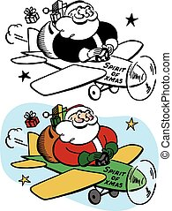 Santa Claus Flying Plane