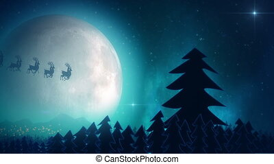 Santa claus flying - Santa Claus light on Christmas trees...