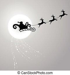 Santa Claus flying with reindeer sleigh-2