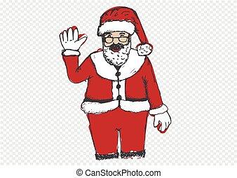Santa Claus for Christmas hand drawn