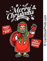 Santa Claus from Emirate Arab Wishes Merry Christmas and Happy New Year