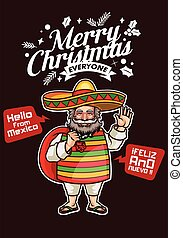 Santa Claus from Mexico Greets Merry Christmas and Happy New Year