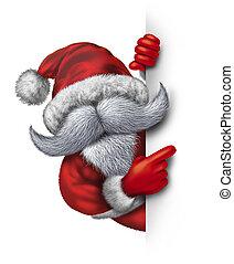 Santa Claus Fun Sign - Santa Claus holding a vertical blank...