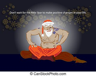 Santa Claus gangster. Christmas in prison. Bad prisoner criminal. New year is canceled. Jailbreak.