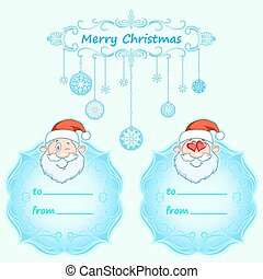 Santa Claus Gift cards. Christmas with vintage frame and Christmas wishes in English winter.