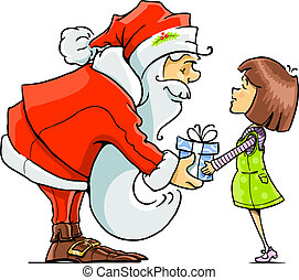 Santa Claus give gift to girl vector illustration isolated ...