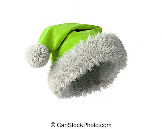 Santa Claus green hat isolated on white background 3D rendering