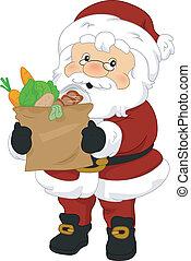 Santa Claus Groceries - Illustration of Santa Claus Carrying...