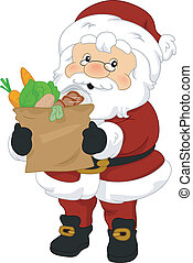 Illustration of Santa Claus Carrying Groceries