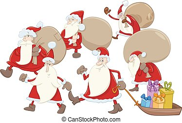 santa claus group cartoon