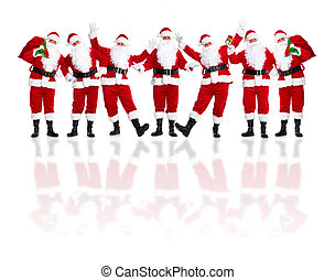 Group of happy traditional Santa Claus. Christmas. Isolated on white background.