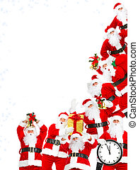Group of happy traditional Santa Claus. Christmas party. Isolated on white background.