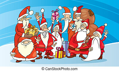 Santa claus group - Illustration of santas group on snow