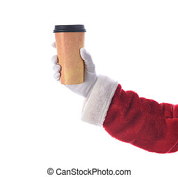 Santa Claus hand and arm holiding a disposabel cup of Coffee over white.