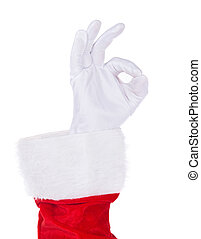 Santa Claus hand showing Okey gesture isolated on white -...