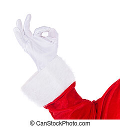 Santa Claus hand showing Okey ok gesture isolated on white -...