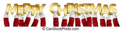 santa claus hands holding up merry christmas