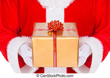 Santa Claus hands with gift box isolated on white background