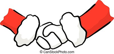 santa claus handshake vector illustration sketch doodle hand drawn with black lines isolated on white background