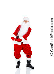 Santa Claus Happy dancing full length portrait, isolated on...