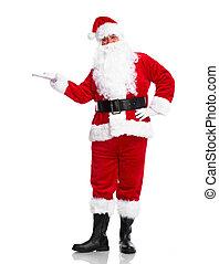 Santa Claus. - Happy traditional Santa Claus showing a...