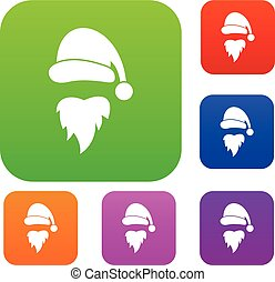 Santa Claus hat and beard set collection