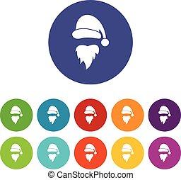 Santa Claus hat and beard set icons