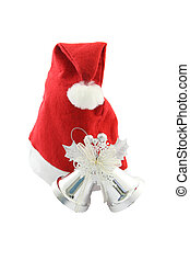 Santa Claus hat and christmas bell on white background.