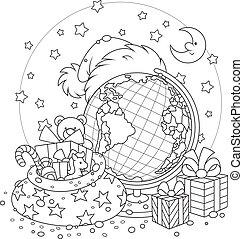 Christmas - Santa Claus hat, Christmas gifts, globe and moon...